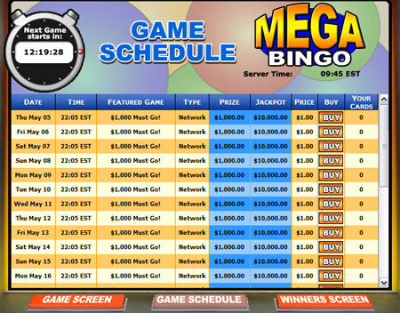 bingo cabin mega bingo network online bingo game