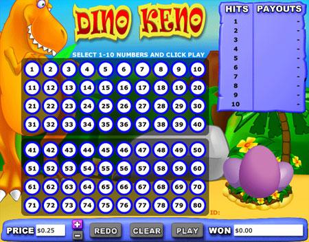 bingo cabin dino keno online casino game