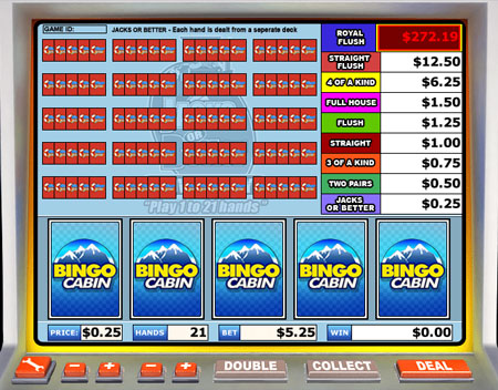 bingo cabin jacks or better video poker online casino game