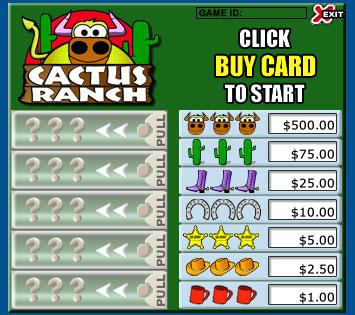 bingo cabin cactus ranch pull tabs online instant win game
