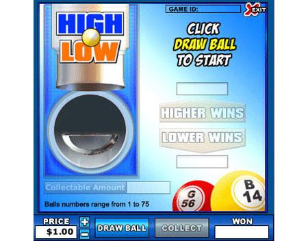 bingo cabin high low online instant win game