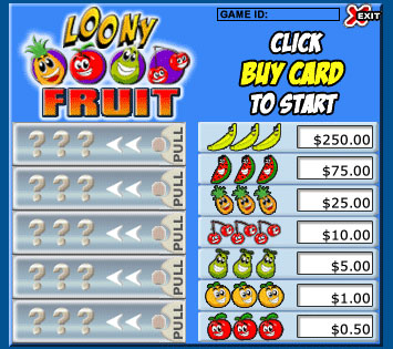 bingo cabin loony fruits pull tabs online instant win game