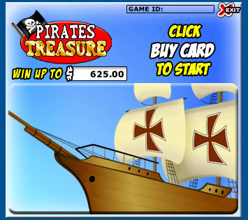 bingo cabin pirates treasure scratch cards online instant win game