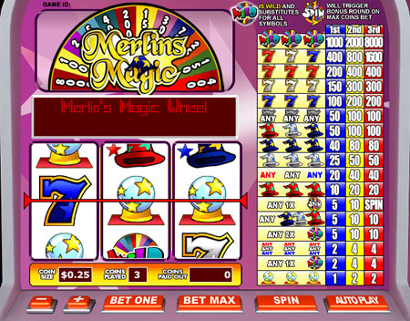 bingo cabin merlins magic 3 reel online slots game