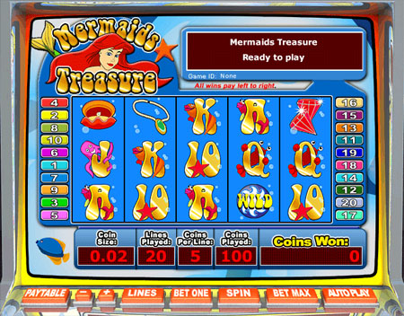 bingo cabin mermaids treasure 5 reel online slots game